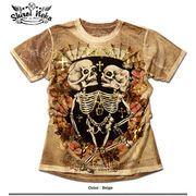 ★グランジROCK炸裂!★ムラ染めウォッシュ&オパール加工ツインスカルプリントTシャツ