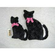 猫のボアクッション 黒猫