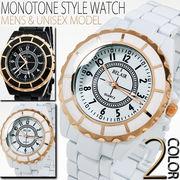 【ユニセックス仕様】★ピンクゴールド使いモノトーンスタイル腕時計【保証書付】