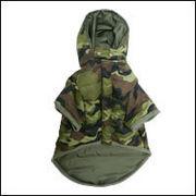 カモフラ ダウンコート(中綿)犬服[迷彩柄/カモフラージュ柄]グリーン