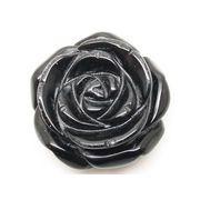 天然石オニキス黒瑪瑙 薔薇バラ花フラワー アクセサリーパーツルース置物t87