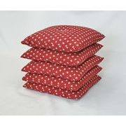 新製品でお買い得  赤 ボリュームたっぷりのあったかい・銘仙版 刺子柄座布団(5枚組) 赤 日本製