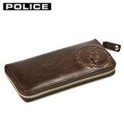 PA5508-29 ダークブラウン POLICE 小銭入れ付き ラウンドファスナー長財布
