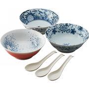 【代引不可】 絵変わり レンゲ付麺鉢3客揃 キッチン用品・食器・調理器具 その他