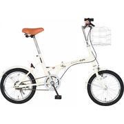 【代引不可】 シンプルスタイル 16型折畳自転車 バスケットセット 本体