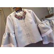 袖口フレア襟フリル付き配色ジャガードスナップジャケット&裾ティアードフレアスカート☆高級な上下セット
