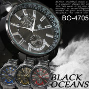 ☆BLACK OCEAN★メタルタイプ ブラック ビッグフェイス メンズ 腕時計☆BO-4705