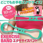 毎日10分間お手軽トレーニング 伸縮抜群シリコンゴム 全身運動 ◇ エクササイズバンド 緑