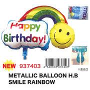 【バースデー/お誕生日】メタリックバルーンHBスマイルレインボー/デコレーション/飾りつけ/パーティー
