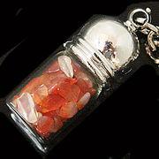 天然石チップ お守り瓶キーホルダー カーネリアン(Carnelian)