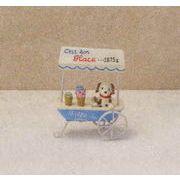 アイスカートワゴンドッグ ガーデニングや装飾のアクセントに人気のオーナメント/ピック/小物