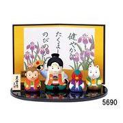 ★端午の節句を飾る★ 陶製の五月人形 【錦彩 桃太郎飾り】