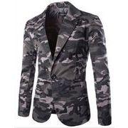 メンズ  結婚式スーツ  通勤ブレザー   修身テーラード  長袖 ジャケット コート薄手スリム  迷彩柄