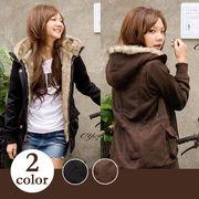 【即納】【大きいサイズあり】ファー付フードジャケット/アウター2色mm-01258【自社工場】
