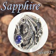 リング / 11-0200  ◆ Silver925 シルバー リング ドラゴン 龍 サファイア N-402