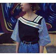 初回送料無料 韓国 ファッション 激安 半袖 Tシャツ 全2色 Dyldh-1606bl1214 春夏 新作