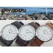 ★日本製ムーブ使用★電池寿命3年以上★ GENEVAユニセックス腕時計 NATOクラシックレザーベルト