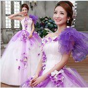 編み上げ/舞台用/撮影衣装 ウェディングドレス/結婚式 花嫁/カラードレス/着痩せ/ボンボンスカート