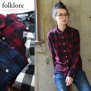 ◆[folklore]ビエラ先染めブロックチェックシャツ/ブラウス/トップス◆423911