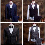 スーツ・セットアップ チェック柄 3点セットメンズ ビジネススーツsuit フォーマル 卒業式 面接全4色