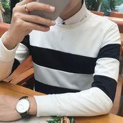 メンズTシャツ★【メンズ】ストライプ柄/ボーダー柄カジュアルラウンドネック/丸襟_537638216662