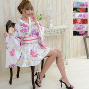 【再入荷】0425ゴールドパイピングフリルサテンミニ着物ドレス和柄 衣装 ダンス よさこい花魁 コスプレ