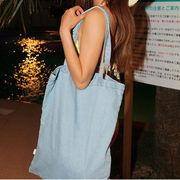 【ノベルティ】【OEM】【自社ブランド対応】【送料無料】3色洗練なシンプルデニムトートバッグ