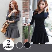 【即納】シンプルフレアーワンピース全2色●v-b423c-1523大きいサイズ/ドレス