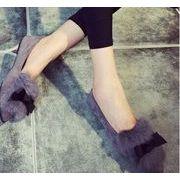 【即納】リボン付きフラットパンプス/ぺたんこ/ファーシューズ/靴全3色★v-ali-117