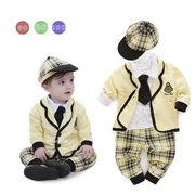 激安!80-80-90-90-100セット★ベビー★幼児★ネクタイ★紳士★チエック★帽子+ジャケット+シャツ+ズボン