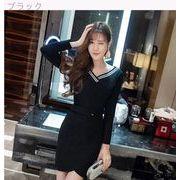 新しいデザイン★女性服★ファッション★Vネック★ボトムスカート★着やせ★セクシー★肩なし