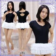 ■送料無料■チュールスカート付き半袖レオタード(後ろリボン) 色:黒×白 サイズ:M/BIG