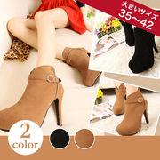 【即納】飾りベルト付ショートブーツ全2色◆★ghx137-779-a6【自社工場】靴/美脚/レディース