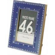 現代百貨 フォトフレーム メジャー 卓上・壁掛け兼用 S ブルー はがきサイズ