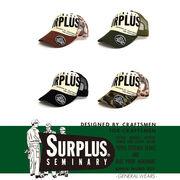 【2017春夏】『SURPLUS』5連ホール&ワッペン付き ロゴプリント メッシュキャップ