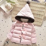 秋冬 韓国式 綿入れ コート 冬物 女の子 キッズ 子供服 蝶結び 長袖 ジュニア 3色