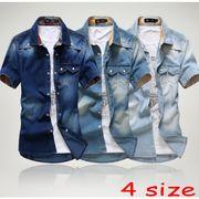 ■スマートに着こなす☆半袖メンズデニムシャツ全3色4サイズ【納期約2週間】
