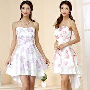 大きいサイズ エレガントな花柄ドレス 結婚式、パーティードレス ミニドレス フォーマル F/2L/3L/4L 9944