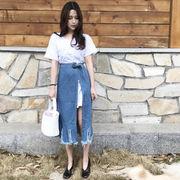 初回送料無料 2017 リボン付き フリンジ Tシャツ スカート 全2色 Vxmkw-1703bmk109 2017 新作