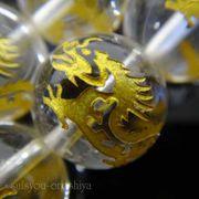 天然石連売り 天然水晶金彫りドラゴン(青龍水晶)12mm・14mm・16mm