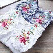★夏新しいスタイル★女の子Tシャツ ブラウス 刺繍 長袖 2色有り