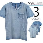 カットデニムVネックTシャツ/sb-255652