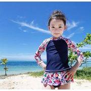 水着 女の子 キッズ 子供服 可愛い スイミング セパレート 上下セット 長袖トップス帽子スカット三点セット
