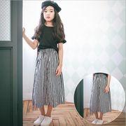 大人気 新作 デザイン 夏 ワイドパンツ ファッション 女の子 綿 ストライプ 100-160