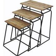 村田屋 飾り棚 ウッドアイアンテーブル 3個セット