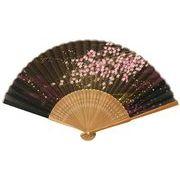 旭王 扇子 桜 ブラックブラウン 131016
