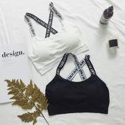 #B6703846★春夏★新しいデザイン★女性服★レターズ★ブラジャー★ラップ胸★キャミ