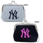 【ファッション】MLB ミニがま口 コインケース/黒ピンク グレー黒 ニューヨークヤンキース