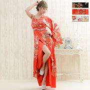 【再入荷】0106A豪華ビジューサテン和柄ワンショルロング着物ドレス和柄 花魁 コスプレ キャバドレス