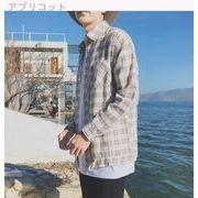 日系★裾★引きひも★男★ルース★T-ストラップ★長袖シャツ★何でも似合う★十代の若者★春